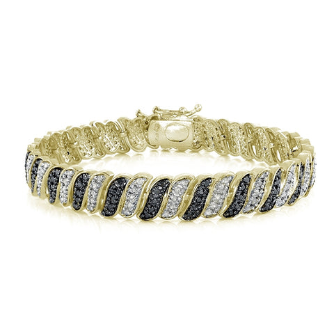 Gold Tone 1.00ct TDW Black & White Diamond Wave Link Tennis Bracelet