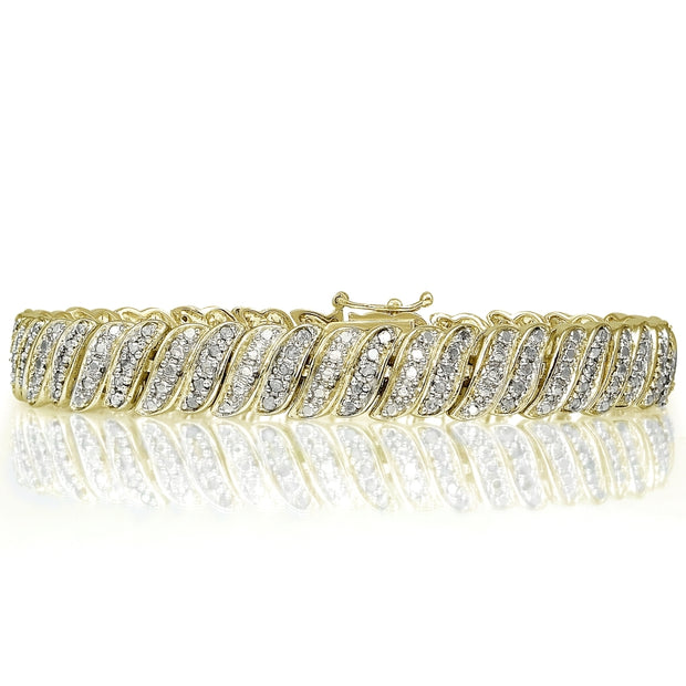 Gold Tone 1.00ct Diamond Tennis Bracelet