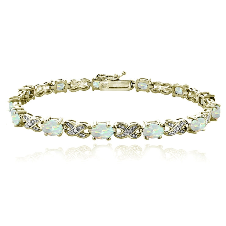 Gold Tone 3ct Created White Opal & Diamond Accent X & Oval Bracelet