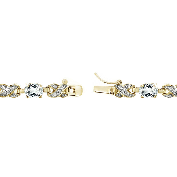 Gold Tone 7.15ct White Topaz & Diamond Accent X & Oval Bracelet