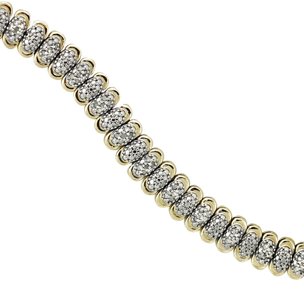 Gold Tone 1 Ct Diamond Oval Tennis Bracelet