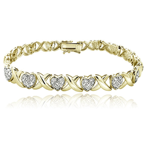 Gold Tone 0.50ct Diamond X & Heart Tennis Bracelet