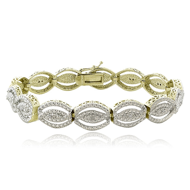 Gold Tone 1/4 Ct Diamond Intertwining Infinity Bracelet
