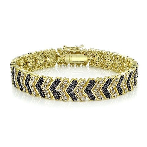 Gold Tone 1 Carat Black & White Diamond Chevron Bracelet