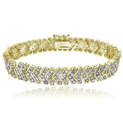 Gold Tone 1.00ct Diamond Chevron Tennis Bracelet