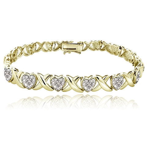 Gold Tone 1.00ct Diamond X & Heart Tennis Bracelet