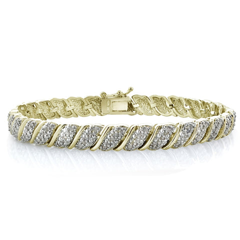 Gold Tone 1.00ct Diamond Fancy Design Tennis Bracelet