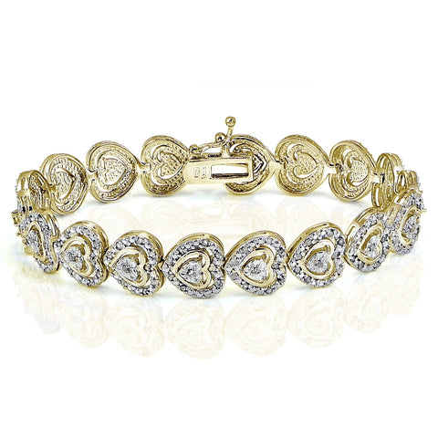 Gold Tone 1.00ct Diamond Heart Tennis Bracelet