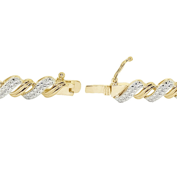 Gold Tone 0.10ct TDW Diamond San Marco Tennis Bracelet