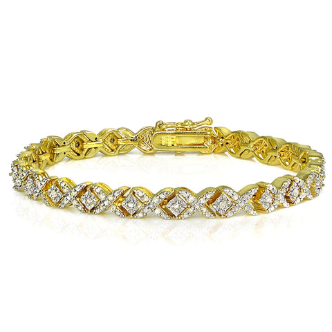 Gold Tone 1.00ct Diamond Miracle Set X Tennis Bracelet