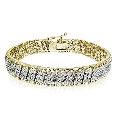 Gold Tone 1.00 CTTW Diamond Miracle Set Studded Tennis Bracelet