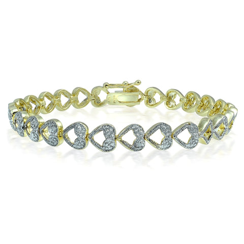 Genuine Diamond Accent Heart Link Tennis Bracelet in Gold Tone