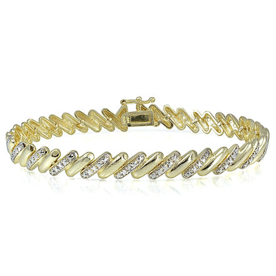 Genuine Diamond Accent San Marco Tennis Bracelet in Gold Tone
