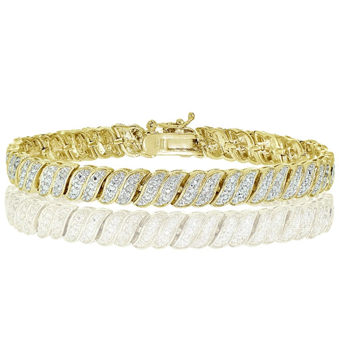 Gold Tone 0.25ct Diamond Wave Link Tennis Bracelet