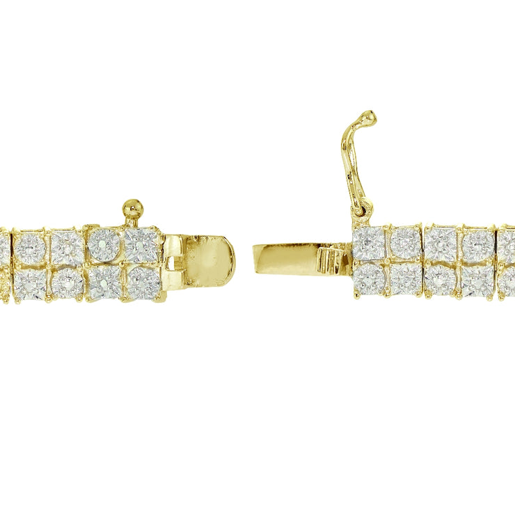 Gold Tone 0.25ct Diamond Miracle Set 2-Row Tennis Bracelet