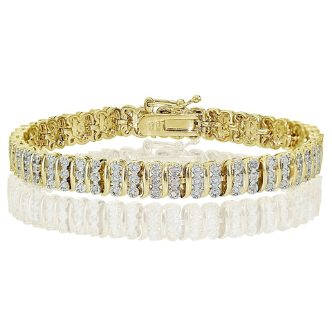 Gold Tone 0.25ct  Diamond S Pattern Tennis Bracelet