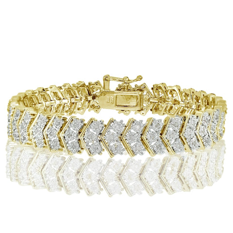Gold Tone 1.00ct Diamond Miracle Set Chevron Tennis Bracelet