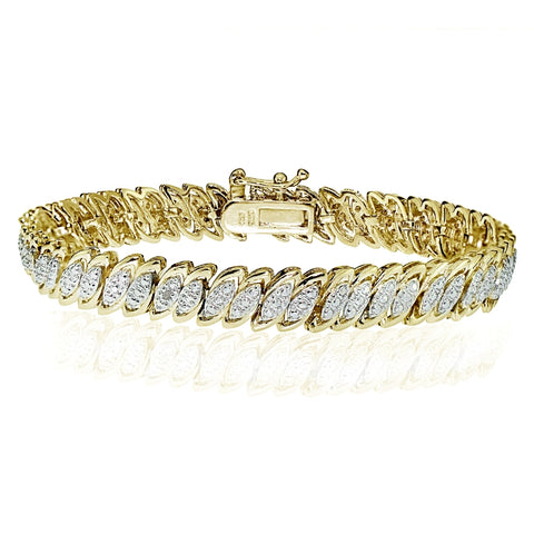Gold Tone 0.10ct Diamond Marquise S Tennis Bracelet