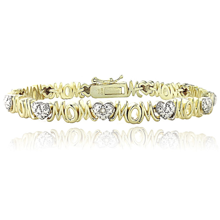 Genuine Diamond Accent Heart and MOM Tennis Bracelet in Gold Tone