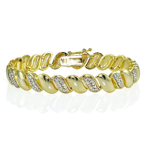 Genuine Natural Diamond Accent San Marco Tennis Bracelet in Gold Tone
