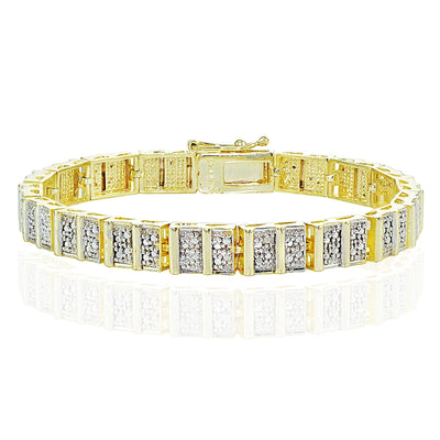 Genuine Diamond Accent Rectangle and Bar Tennis Bracelet in Gold Tone