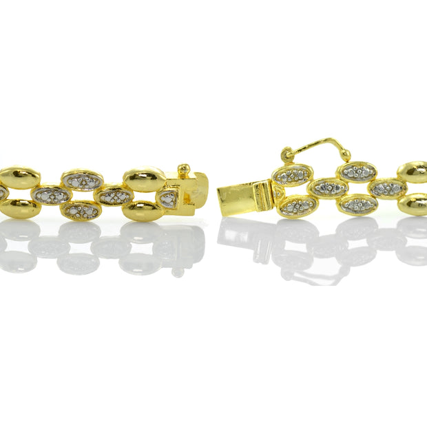 Genuine Diamond Accent Oval Link Tennis Bracelet in Gold Tone