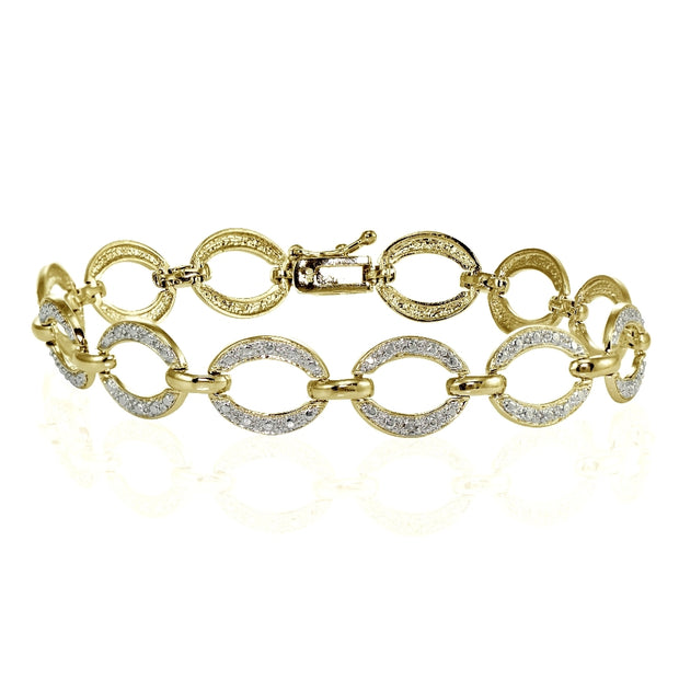 Genuine Diamond Accent Circle and Bar Tennis Bracelet in Gold Tone