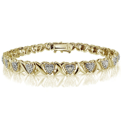 Genuine Diamond Accent X and Heart Tennis Bracelet in Gold Tone