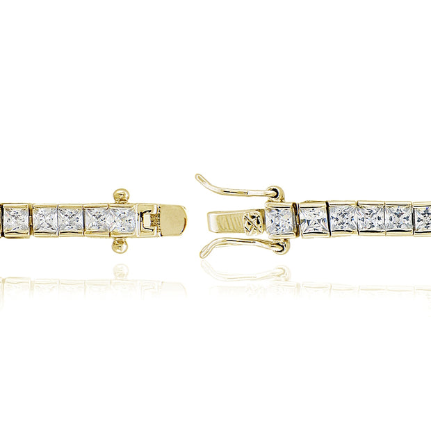 Cubic Zirconia Princess-Cut Channel Set Fashion Tennis Bracelet in Yellow Gold Tone