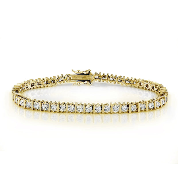 Cubic Zirconia Round Fashion Bar Tennis Bracelet in Yellow Gold Tone