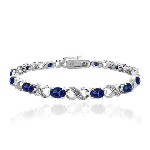 4.3ct Created Blue Sapphire and Diamond Accent Infinity Bracelet