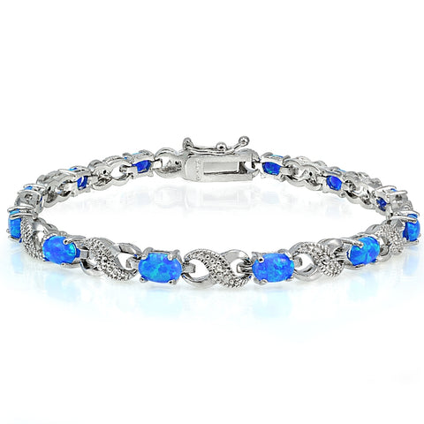 3ct Created Blue Opal & Diamond Accent Infinity Bracelet