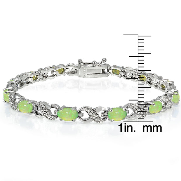 2ct Created Green Opal & Diamond Accent Infinity Bracelet