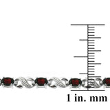 Silver Tone 6.6ct Garnet & Diamond Accent Infinity Links Bracelet
