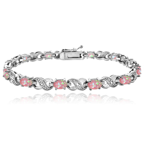 3ct Created Pink Opal & Diamond Accent Infinity Bracelet
