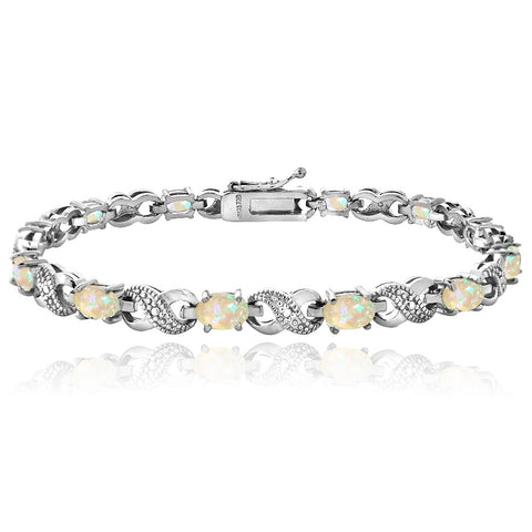 3ct Created Opal & Diamond Accent Infinity Bracelet
