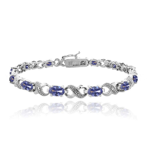 6.6 Carat Simulated Tanzanite & Diamond Accent Infinity Bracelet