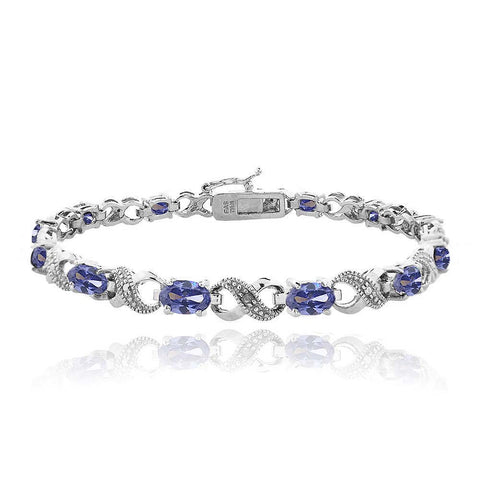 6.6ct Simulated Tanzanite & Diamond Accent Infinity Bracelet