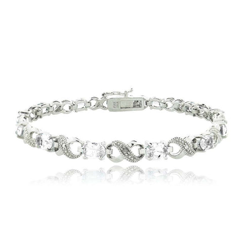 6.6ct White Topaz & Diamond Accent Infinity Bracelet