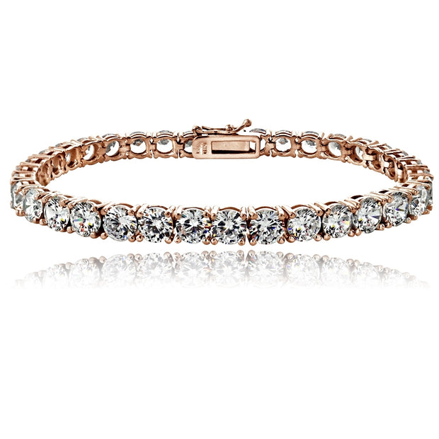 Rose Gold Tone 16.5ct CZ Round Tennis Bracelet