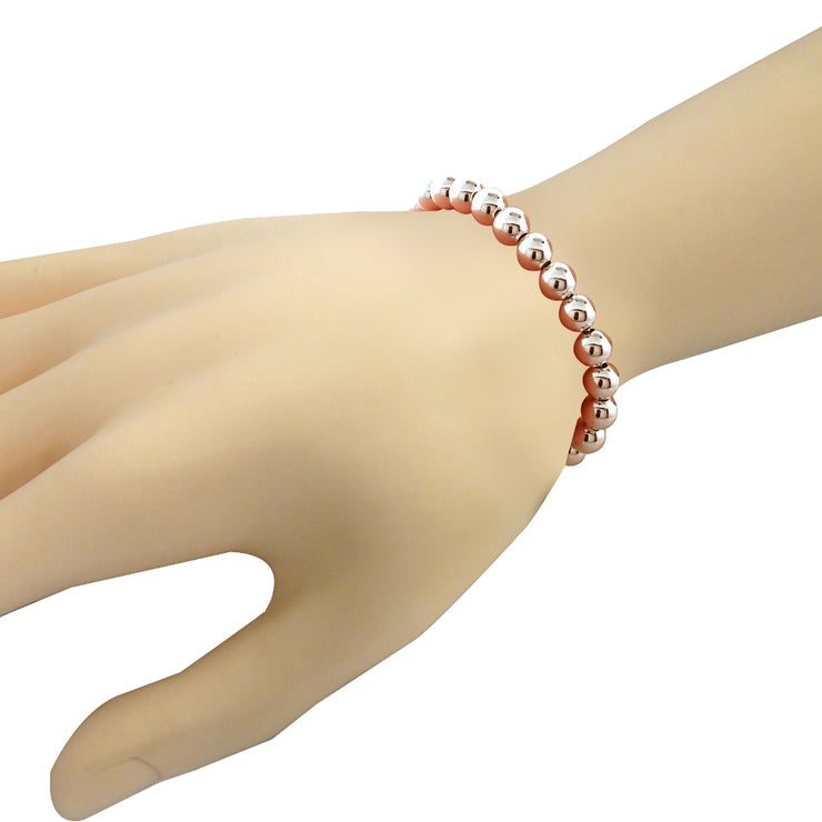 Rose Gold Tone over Sterling Silver Bead Adjustable Bracelet