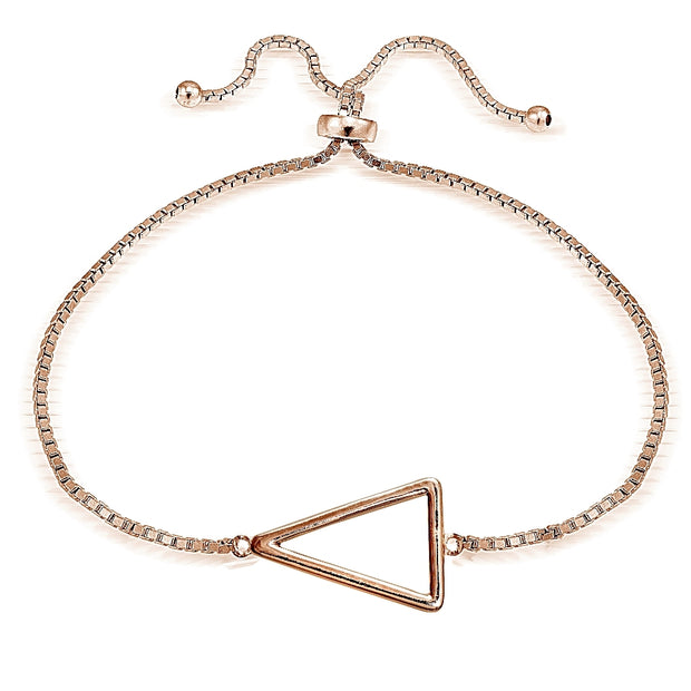 Rose Gold Tone over Sterling Silver Triangle Polished Adjustable Bracelet