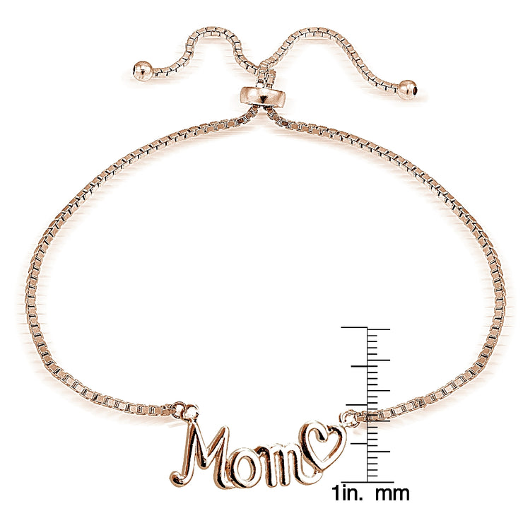 Rose Gold Tone over Sterling Silver MOM & Heart Polished Adjustable Bracelet