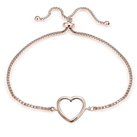 Rose Gold Tone over Sterling Silver Open Heart Polished Adjustable Bracelet