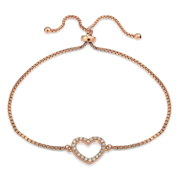Rose Gold Tone over Sterling Silver Cubic Zirconia Open Heart Adjustable Bracelet
