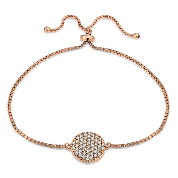 Rose Gold Tone over Sterling Silver Cubic Zirconia Circle Charm Adjustable Bracelet