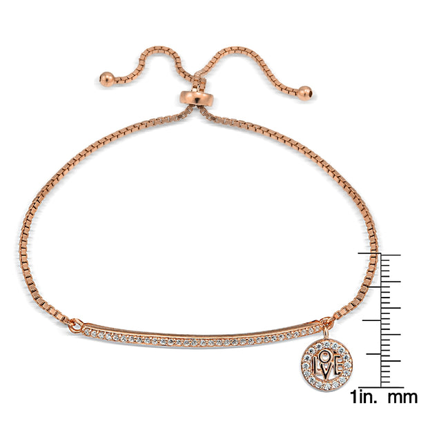 Rose Gold Tone over Sterling Silver  Cubic Zirconia 'Love' Charm Bar Adjustable Bracelet