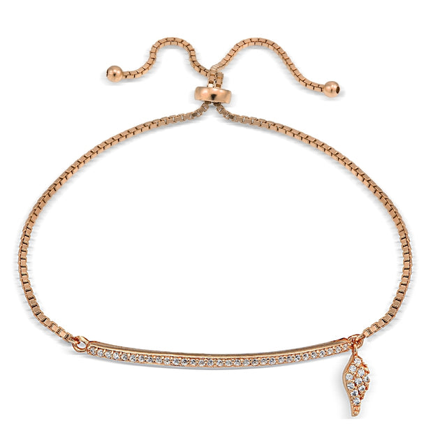 Rose Gold Tone over Sterling Silver Cubic Zirconia Bar Wing Charm Adjustable Bracelet