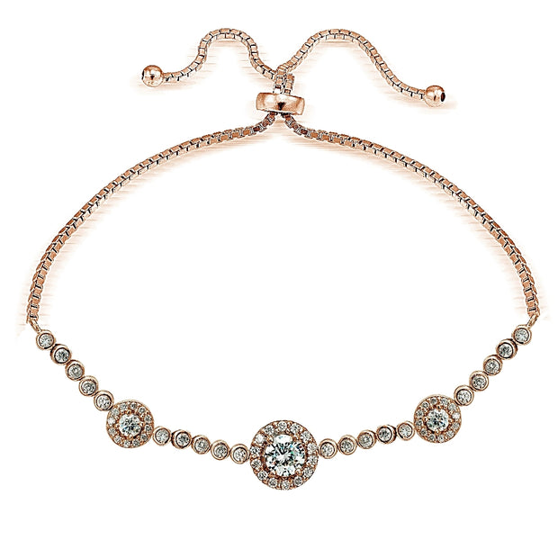 Rose Gold Tone over Sterling Silver Cubic Zirconia 3-Stone Halo Adjustable Bracelet