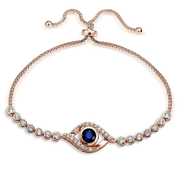 Rose Gold Tone over Sterling Silver Blue Cubic Zirconia Evil Eye Adjustable Bracelet